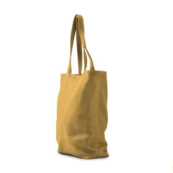 Leren shopper dames geel