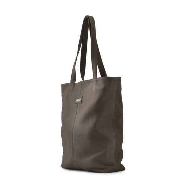 Leren shopper dames taupe