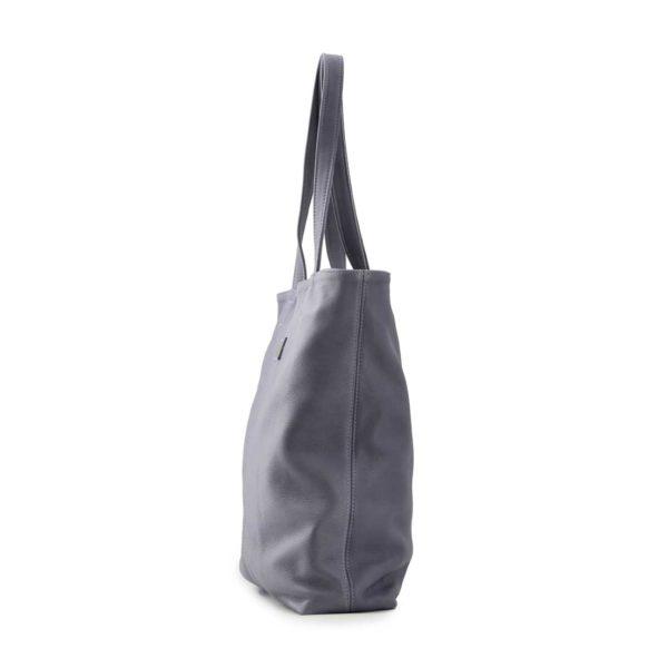 Leren shopper dames grijs