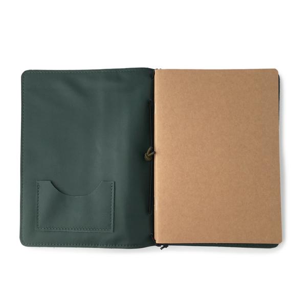 Handgemaakt hervulbaar leren journal groen met bloemenprint A5 formaat