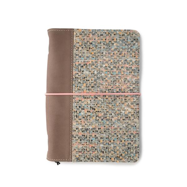 Hervulbaar leren journal taupe met mozaiekprint A5 formaat