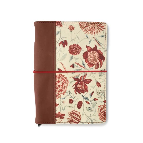 Hervulbaar leren journal bruin met bloemenprint A5 formaat