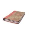 Hervulbaar roze leren notebook A5 formaat met elastiek en bloemenprint