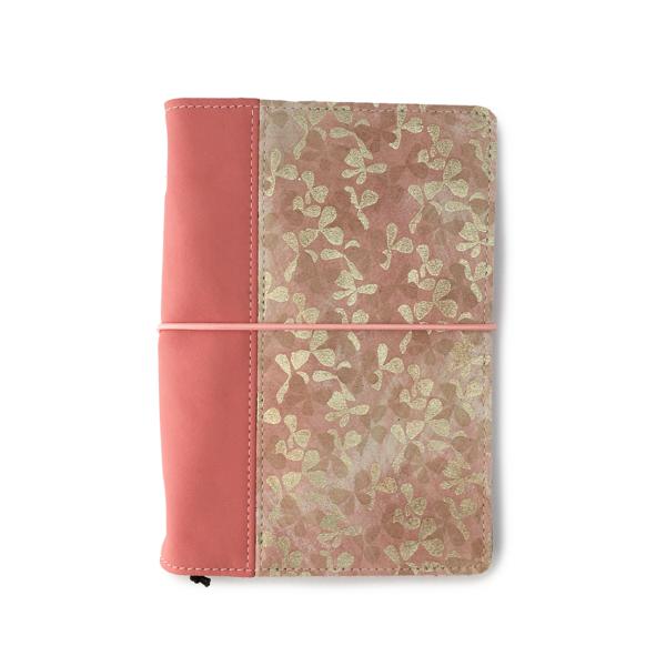 Hervulbaar roze leren notebook A5 formaat met elastiek en bloemen print