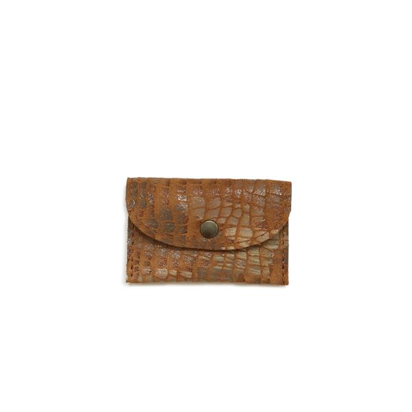 leren mini etui voor oortjes cognac met mozaiekdessin